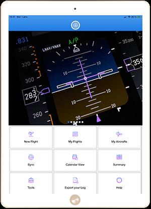 FlightLog Pilot App main home