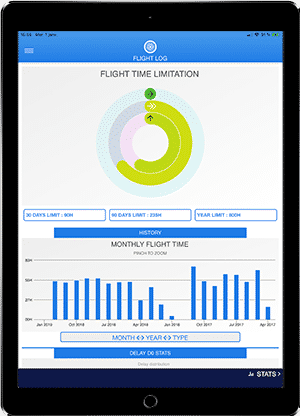 FlightLog Pilot App flight time limitation