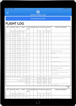 FlightLog Pilot App Export PDF Page